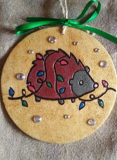 Hedgehog 2016 Christmas Holiday Ornament by IrieSoulCreations on Etsy