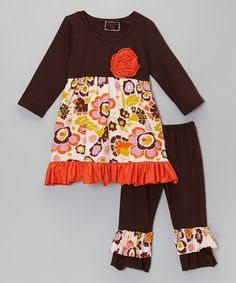 Look what I found on #zulily! Brown Floral Tunic & Pants - Infant, Toddler & Girls by Royal Gem #zulilyfinds