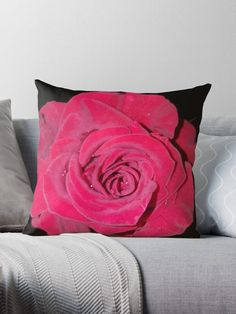 Designer Throw Pillows, Red Roses, Close Up, Pillow Cases, Original Art, Interior Decorating, Romantic, Glamour, Prints