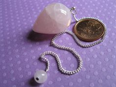 Rose Quartz crystal teardrop pendulum & FREE by MagickalGoodies, $28.00
