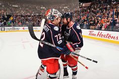 COLUMBUS, OH - MARCH 25: Brandon Dubinsky #17 of the Columbus Blue Jackets congratulates goaltender Sergei Bobrovsky #72 of the Columbus Blue Jackets on shutting out the Philadelphia Flyers 1-0 in a game on March 25, 2017 at Nationwide Arena in Columbus, Ohio. (Photo by Jamie Sabau/NHLI via Getty Images)