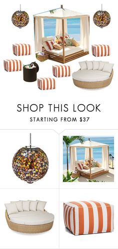 """poolside lounge area"" by peachpiefromheaven ❤ liked on Polyvore featuring interior, interiors, interior design, home, home decor, interior decorating, Evergreen, Pottery Barn, Sunset West and Keter"