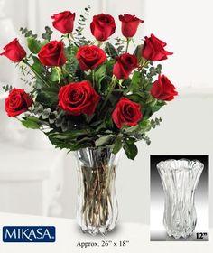 ROSES  & MIKASA CRYSTAL VASE