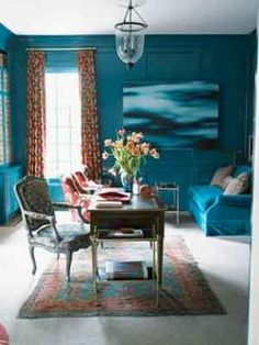 Sherwin Williams Oceanside SW6496 - thinking of this color for the bookshelves framing my tv in the living room...