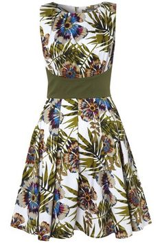 Palm Leaf & Passion Flower Structured Dress on Womens Clothing £39