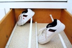 Shoe draws idea for second living area built-in wall unit