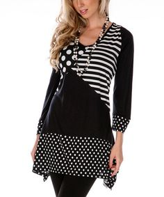 Take a look at this Black & White V-Neck Patchwork Tunic by Aster on #zulily today!