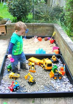 Make some outdoor sensory play areas for toddlers and preschoolers with these two simple ideas; a DIY sand box and a gravel pit construction site! We are huge fans of outdoor play and learning and spend a lot of time in our garden or the woods and parks near our home. Because we live in...Read More » #homeschoolingideasfortoddlers #homeschoolingfortoddlers