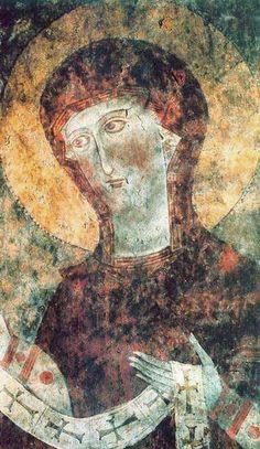 The 13th-century fresco painting of the Holy Virgin inside the Memorial Cathedral of the Dadivank Monastery.