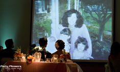 Slide show plays on screen and projector during dinner  Photo Credit- Kim Greer  #CincinnatiWedding #PartyPleasers #AV #Screenandprojector #projector