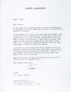 Letters of Note - Jack Lemmon's hilarious thank you letter to Burt Reynolds for a donation to the Jack Lemmon Burn Center.