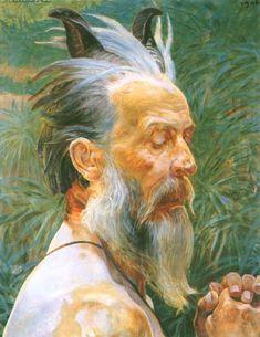 Head of an old faun - Jacek Malczewski