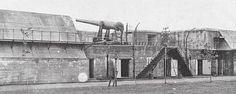 View of the 10 inch disappearing guns at Battery Harker within Fort Mott, Salem County, NJ, photographed between 1898 and 1908. Discover more history @ www.thehistorygirl.com