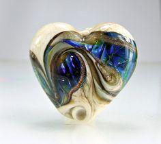 Blue Ivory Lampwork Heart Focal Bead SRA BEADS