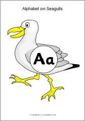 Alphabet on seagulls - uppercase with lowercase (SB9310) - SparkleBox