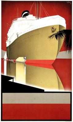 design-is-fine:Willem Frederik ten Broek (or Wim ten Broek), poster before text KNSM, 1937. Royal Netherlands Steamship Co.AmsterdamSource