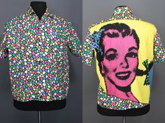 80's Men's Shirt......80's New Wave Colorful Graphic Pop Art Shirt-Jac Esprit Men's Shirt by zapped80s on Etsy