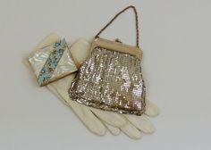 Vintage Mesh Handbag  Whiting and Davis Silver Mesh Bag