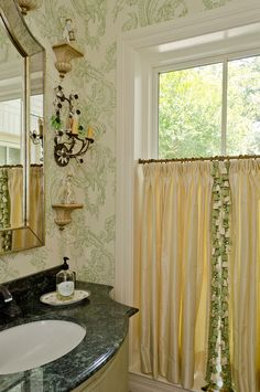 Design by Audrey Curl, Ornamentations Design, San Antonio Bathroom Window Curtains, Tier Curtains, Cafe Curtains, Girls Dressing Room, Traditional Baths, Drapery Designs, Bath Powder, Powder Rooms, Small Windows