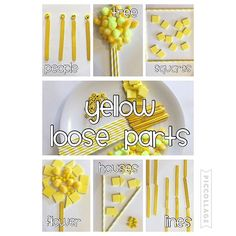 Yellow Loose Parts {Bree and her friend had fun making lots of different things with these yellow loose parts} #looseparts #toddlerfun #kidfun #toddlerplay #kidplay #toddleractivity #kidactivity #toddleracticities #kidactivities #earlyeducation #freeplay #yellow #playwithcolors