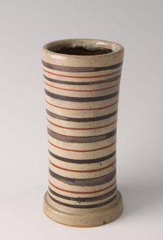 """Shinsaku Hamada, Vase with akae decoration, stoneware, 7 x 3.5 x 3.5"""""""