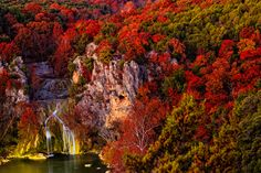 Turner Falls is a beautiful scenic 77 foot high waterfall along Honey Creek that is a popular landmark in south-central Oklahoma. Located in Turner Falls Park at the base of the Arbuckle Mountains.   Primitive camping here is awesome but they have cabins as well.