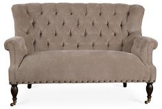 """Logan 60"""" Tufted Settee, Smoke 