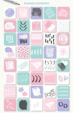 Abstract Toolkit elements] by Julia Dreams on Web Design, Flyer Design, Creative Design, Logo Design, Memphis Design, How To Make Logo, Instagram Design, Social Media Design, Grafik Design