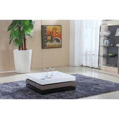 Modern square swivel top coffee table with storage Tamano.
