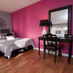 by Stephanie O'Leary, Pink paint (for Regans ceiling) is springtime bloom 2079-40 by Benjamin Moore. The gray is similar to Benjamin Moore's Excalibur Gray.""