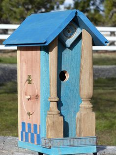 Birdhouse Handcrafted Rustic Cedar with painted details by 3FeatheredFriends on Etsy