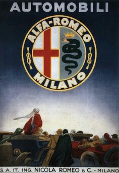 Vintage Italian Alfa Romeo Automobile Ad Poster