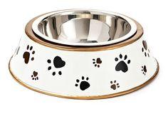 Paw Prints Dog Bowl, Black/Cream on OneKingsLane.com