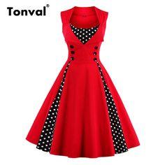 Red Sleeveless Dress Vintage Rockabilly 50s Style