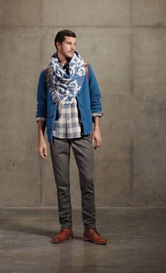 Fall 2012 Lookbook |  coos curry cardigan, double pocket shirt, fringed scarf, suspender pant
