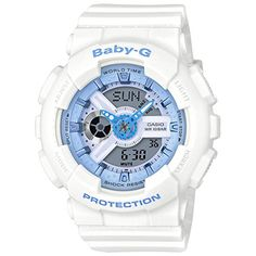 Women's Casio Baby-G Analog-Digital Beach Watch (White / Light Blue) BA-110BE-7A - The casual watch for today's active woman Beach Color Series of pastel colored models - Seashells and other marine scenes Countdown timer, stopwatch, multi-alarm and world time Mannish design Refreshing pastel blue coloring in the image of the summer ocean This lineup provides a rich collecti...