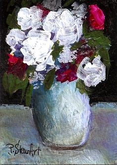 ACEO Painting Roses Acrylic White Magenta Floral Vase Fine Art SFA Penny StewArt #Impressionism