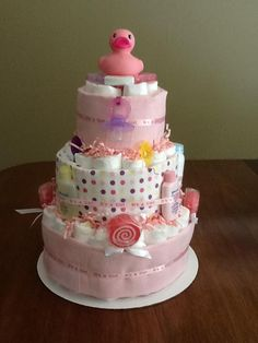 Girls Diaper Cake by B's Gift Baskets & Gifts