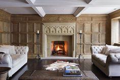 Oak panelling — Jack Badger Ltd Fireplace Wall, Fireplace Mantels, Fireplaces, Wood Panel Walls, Wall Wood, Wooden Panelling, Duck House, Basement Inspiration, Oak Panels