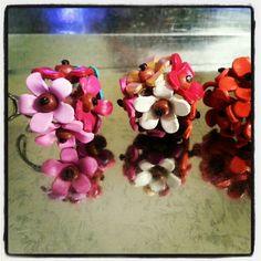 Flowers color wood adjustable rings
