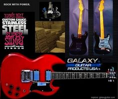 Every Galaxy Guitar ships with a brand new set of Ernie Ball Stainless steel strings 009 gauge and we include an extra set for you as well. Free Shipping in the USA!