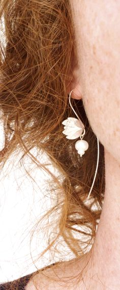 Floral sterling and pearl sculptural earrings. Botanical inspired statement…