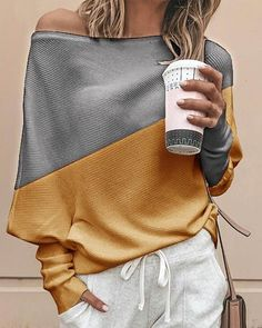 Color Block Casual Oblique Neckline Long Sleeve, Blouses - Yellow / S Casual Sweaters, Casual Tops, Knit Sweaters, Casual Chic, Casual Party, Denim Mantel, Batwing Sleeve, Long Sleeve, Bat Sleeve