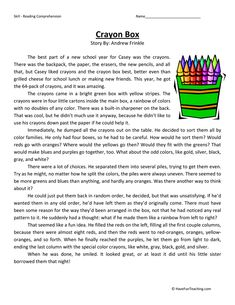 This Crayon Box - Reading Comprehension Worksheet will help your students build their reading comprehension skills while reading about Casey's love of coloring Reading Comprehension Activities, Reading Worksheets, Reading Fluency, Reading Passages, Reading Strategies, Reading Skills, Comprehension Exercises, Printable Worksheets, Free Printable