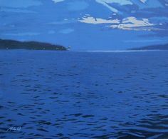 Nocturnal Estuary (Pintura),  1x20x24 in por MALC This image is taken from my own original oil painting and depicts an evening scene on the River Clyde estuary in Scotland. The famous Cloch Lighthouse can be seen at mid left.   Was painted wet into dry, in stages onto box canvas.