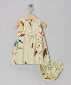 Tan Butterfly Swing Dress & Diaper Cover//