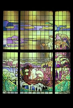 """Designed by Privat-Livemont, executed by Evaldre, 1897. Coloured glass window """"La Vague"""""""