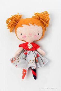 Dottie Doo LIttles 11 inch dolls felt little red by missrubysue, $50.00