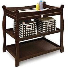 @Overstock - Badger Basket sleigh-style changing table has traditional, enduring styleBaby furniture has 2 shelves and ample room for changing diapers or dressing babyChanging table is made of quality hardwood with non-toxic espresso finishhttp://www.overstock.com/Baby/Badger-Basket-Espresso-Sleigh-style-Changing-Table/4466334/product.html?CID=214117 $78.99