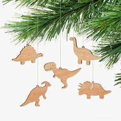 These wooden dinosaur ornaments handmade in the ACT from Tasmanian Oak would be a unique addition to the tree for any dinosaur obsessed kid!